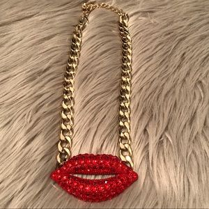 Jewelry - Red crystal lips necklace